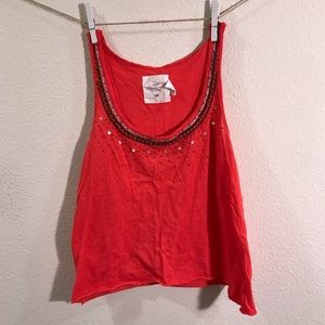H&M coral tank embellished size small